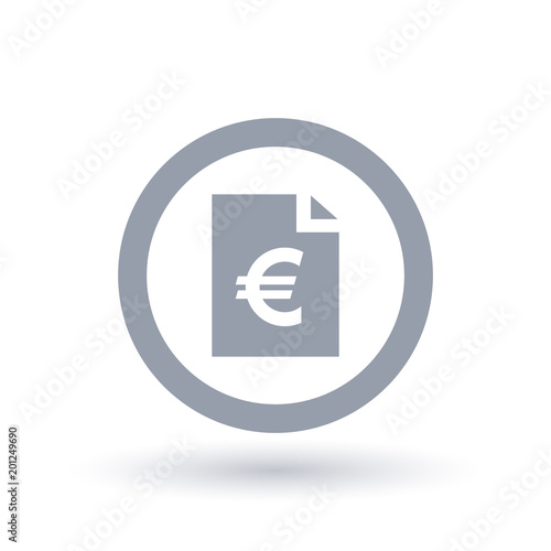 Paper Euro Bill Icon European Money Document Symbol Stock Image