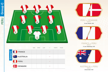 Peru football team infographic for football tournament.