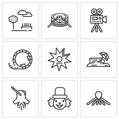 Set Of 9 simple editable icons such as Balloon dog, Clown, Lighting, Sand, Walk of fame, Roller coaster, Video camera, Drums, Park