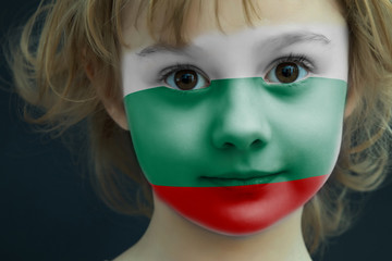 Child with a painted flag of Bulgaria