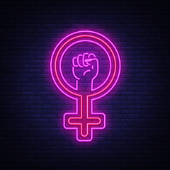 Female gender symbol neon sign vector. Feminism night light symbol, icon. Feminist protest symbol in neon style. Design a template for Equality