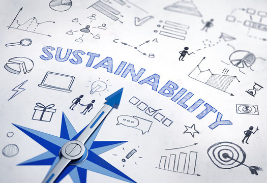 Sustainability concept with blue compass