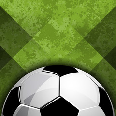 Football soccer ball on abstract green field background vector illustration