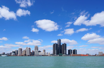 Detroit city center and Renaissance Center during a beautiful day view from Windsor, Ontario, Canada.
