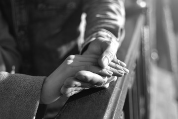 hand in hand, love, coat, fingers,black and white photo