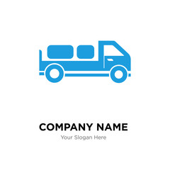 Delivery truck with packages behind company logo design template
