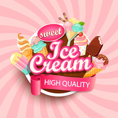 Colorful Ice cream shop logo label or emblem in caartoon style for your design on suburst background. Vector illustration.