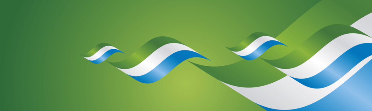 Sierra Leone Independence Day waving flags two fold green landscape background