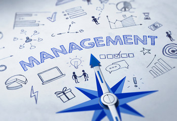 MANAGEMENT concept with blue compass. 3d Rendering
