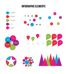 Infographic Elements Vector Set Modern Business Process Presentation. Pie Chart, Circular Bar, Linear Diargam Targeting, Development Report. Chart Graphic Business Statistics Cool Infographic Template