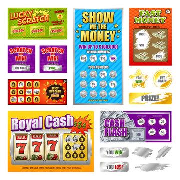 Scratch Lottery Cards Set