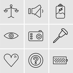 Set Of 9 simple editable icons such as Battery level, Question mark, Heart, Pushpin, Photo camera, Eye, Battery charging, Volume control, Weighing scale