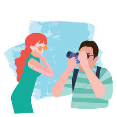 illustration of a photographer taking pictures of  of a girl.