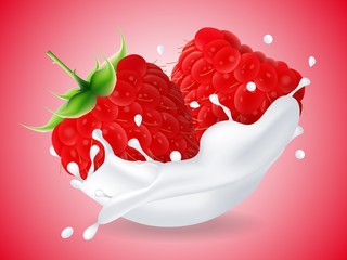 juicy sweet raspberry in milk splash. Milkshake with raspberry. Realistic style. Vector illustration.