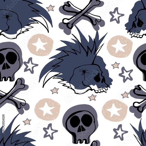 Vector Hand Drawn Seamless Patern Skulls Bones Punks Rock Music