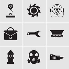Set Of 9 simple editable icons such as cutter, respirator, Fire Hydrant, freight wagon, adjustable wrench, portfolio, energy check, saw blade, load crane