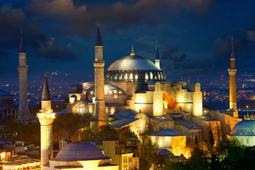 View of Haghia Sophia or Aya Sofya at dusk, Istanbul, Turkey