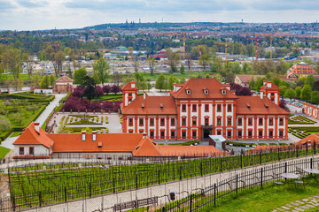 PRAGUE, CZECH REPUBLIC - APRIL, 30, 2017: Troja palace. Beautiful site is a travel destination. Wide panoramic view