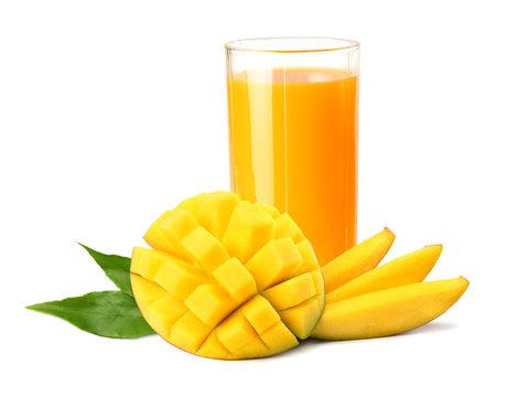 mango juice with mango slice isolated on white background. glass of mango juice.