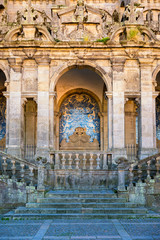 Porto Cathedral facade view, Roman Catholic church, Portugal. Construction around 1110