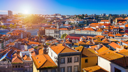 Panoramic view of Old city of Porto (Oporto) and Ribeira over Douro river, Portugal. Concept of world travel, sightseeing and tourism.