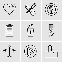 Set Of 9 simple editable icons such as Inbox, Play button, Weighing scale, Medal with a star, Dustbin, Battery level, Question mark, Screwdriver and wrench, Heart