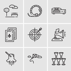 Set Of 9 simple editable icons such as Glasses, Kite, Lighting, Gramphone, Darts, Cards, Video recorder, Roller coaster, Park