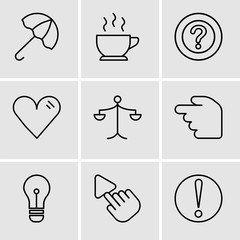 Set Of 9 simple editable icons such as Caution, Selection Tool, Light bulb, Hourglass, Weighing scale, Heart, Question mark, Cup of hot coffee, Open umbrella