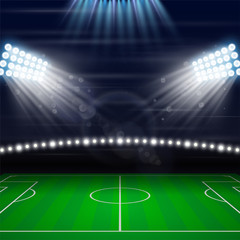 Football soccer field playing vector illustration. Floodlight Illumination set for sport stadium. Championship poster, advertising banner. Empty competition arena green ground.