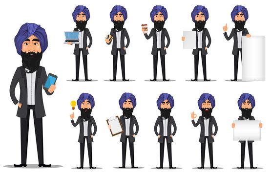 Indian business man cartoon character set