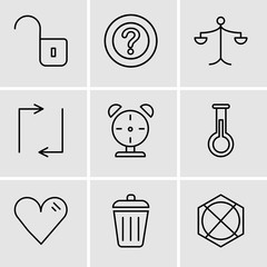 Set Of 9 simple editable icons such as Arrow pointing to up, Dustbin, Heart, Erlenmeyer Flask, Alarm clock, Update arrows, Weighing scale, Question mark, Unlocked padlock