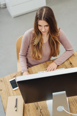 Young businesswoman working at a large monitor