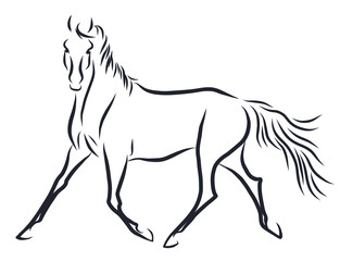 A line sketych of a horse trotting freely.