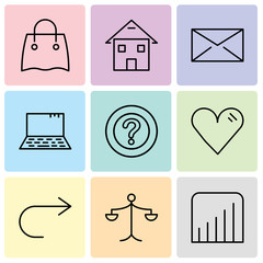 Set Of 9 simple editable icons such as Coverage level, Weighing scale, Arrow pointing to right, Heart, Question mark, Laptop, Closed envelope, Homepage, Reusable shopping bag