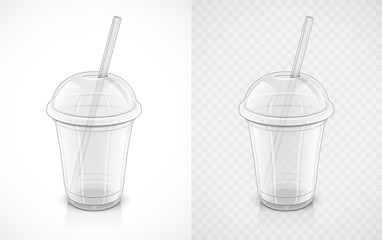 Transparent plastic cup. Fast-food pack for drink with pipe. Mug