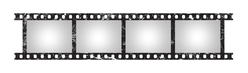 Six empty retro frames of 35 mm film strip