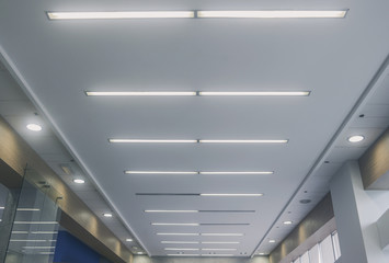 Lights from ceiling of business office