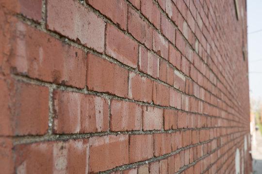 Red brick wall shot on angle