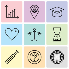 Set Of 9 simple editable icons such as International globe, Question mark, Battery level, Hand pointing to left, Weighing scale, Heart, Add tool, Location pointer, Benefit chart