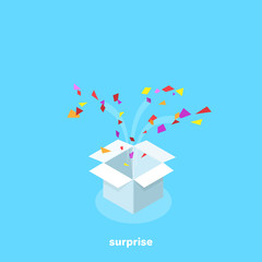 a fire box with multi-colored pieces of paper, a congratulatory box, an isometric image