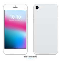 smartphone with colored screen front and back side on white background. stock vector illustration eps10