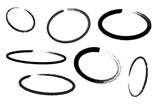 Circle draw set, design elements of highlighting, black marker isolated on white background, vector illustration.