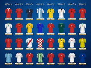 Football World Championship Jerseys. 2018 Soccer groups. Vector Jersey Collection.