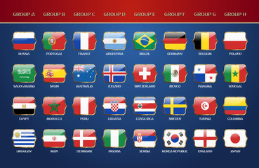 Football World Championship 2018 Groups. Vector Country Flags.