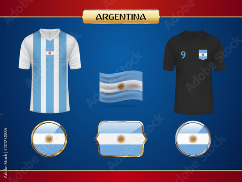 b153c1a4510 Argentina team Football World Championship 2018 Jersey. Vector Country Flag.