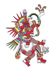 Quetzalcoatl, the feathered serpent. God of Wind and Wisdom. Twin brother of Tezcatlipoca. Deity as depicted in the antique Aztec manuscript painting Codex Borbonicus. Illustration over white. Vector.