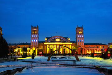 Railway station in Kharkov, Ukraine, at sundown