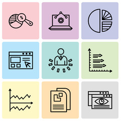 Set Of 9 simple editable icons such as Data viewer, Data page, Chart, Bars, User data analytics, Data import interface, Simple chart, Laptop Analysis, Pie chart analysis