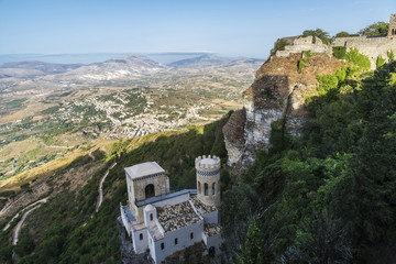 Torretta Pepoli and Venere castle in Erice, Sicily, Italy