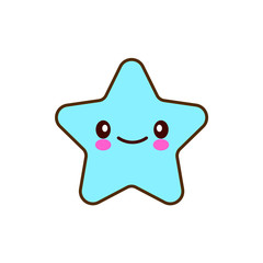 Emotional faces star cute smiles. Vector illustration smile icon. Face emoji blue icon. Smile cute funny emotion face isolated background. Feelings, expression for message, sms. EPS